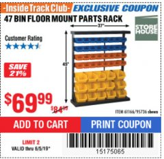 Harbor Freight ITC Coupon 47 BIN FLOOR MOUNT PARTS RACK Lot No. 61166/95736 Expired: 6/5/19 - $69.99