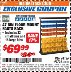Harbor Freight ITC Coupon 47 BIN FLOOR MOUNT PARTS RACK Lot No. 61166/95736 Expired: 8/31/19 - $69.99