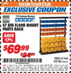 Harbor Freight ITC Coupon 47 BIN FLOOR MOUNT PARTS RACK Lot No. 61166/95736 Expired: 5/31/19 - $69.99