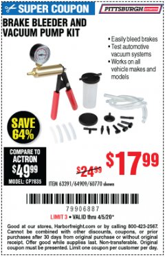 Harbor Freight Coupon BRAKE BLEEDER AND VACUUM PUMP KIT Lot No. 69328/60770/92474 EXPIRES: 6/30/20 - $17.99