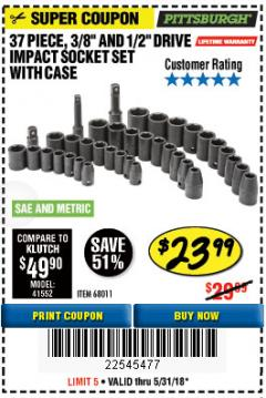 "Harbor Freight Coupon 37 PIECE 3/8"" AND 1/2"" DRIVE COMBINATION IMPACT SOCKET SET Lot No. 68011 Expired: 5/31/18 - $23.99"