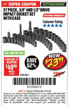 "Harbor Freight Coupon 37 PIECE 3/8"" AND 1/2"" DRIVE COMBINATION IMPACT SOCKET SET Lot No. 68011 Expired: 7/31/18 - $23.99"