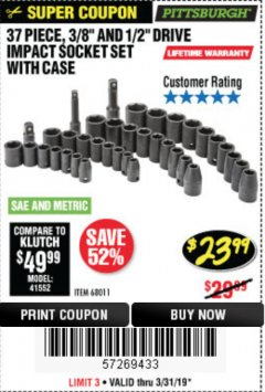 "Harbor Freight Coupon 37 PIECE 3/8"" AND 1/2"" DRIVE COMBINATION IMPACT SOCKET SET Lot No. 68011 Expired: 3/31/19 - $23.99"