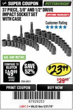 "Harbor Freight Coupon 37 PIECE 3/8"" AND 1/2"" DRIVE COMBINATION IMPACT SOCKET SET Lot No. 68011 Expired: 5/31/19 - $23.99"