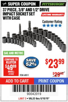 "Harbor Freight Coupon 37 PIECE 3/8"" AND 1/2"" DRIVE COMBINATION IMPACT SOCKET SET Lot No. 68011 Expired: 6/16/19 - $23.99"