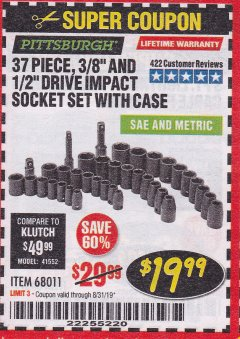 "Harbor Freight Coupon 37 PIECE 3/8"" AND 1/2"" DRIVE COMBINATION IMPACT SOCKET SET Lot No. 68011 Expired: 8/31/19 - $19.99"