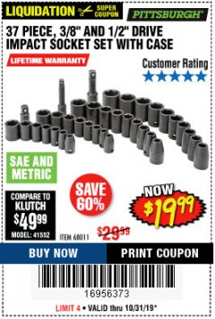 "Harbor Freight Coupon 37 PIECE 3/8"" AND 1/2"" DRIVE COMBINATION IMPACT SOCKET SET Lot No. 68011 Expired: 10/31/19 - $19.99"