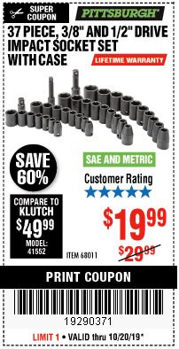"Harbor Freight Coupon 37 PIECE 3/8"" AND 1/2"" DRIVE COMBINATION IMPACT SOCKET SET Lot No. 68011 Expired: 10/20/19 - $19.99"