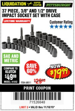 "Harbor Freight Coupon 37 PIECE 3/8"" AND 1/2"" DRIVE COMBINATION IMPACT SOCKET SET Lot No. 68011 Expired: 11/10/19 - $19.99"