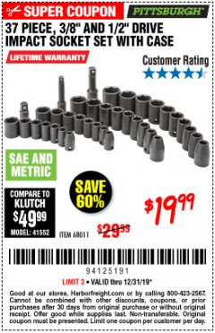 "Harbor Freight Coupon 37 PIECE 3/8"" AND 1/2"" DRIVE COMBINATION IMPACT SOCKET SET Lot No. 68011 Expired: 12/31/19 - $19.99"
