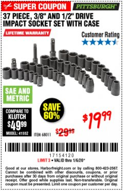 "Harbor Freight Coupon 37 PIECE 3/8"" AND 1/2"" DRIVE COMBINATION IMPACT SOCKET SET Lot No. 68011 Expired: 1/6/20 - $19.99"