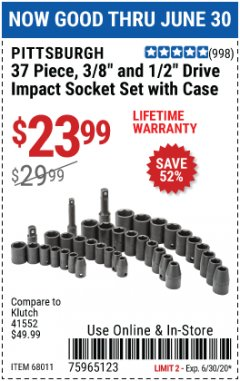 "Harbor Freight Coupon 37 PIECE 3/8"" AND 1/2"" DRIVE COMBINATION IMPACT SOCKET SET Lot No. 68011 EXPIRES: 6/30/20 - $23.99"