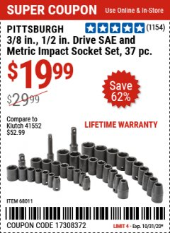 "Harbor Freight Coupon 37 PIECE 3/8"" AND 1/2"" DRIVE COMBINATION IMPACT SOCKET SET Lot No. 68011 Valid: 9/23/20 - 10/31/20 - $19.99"