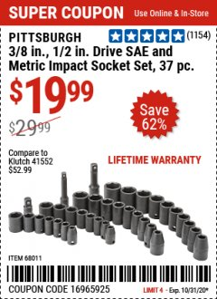 "Harbor Freight Coupon 37 PIECE 3/8"" AND 1/2"" DRIVE COMBINATION IMPACT SOCKET SET Lot No. 68011 Valid Thru: 10/31/20 - $19.99"