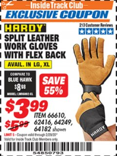 Harbor Freight ITC Coupon SPLIT LEATHER WORK GLOVES WITH FLEX BACK Lot No. 66610/62416 Expired: 2/29/20 - $3.99