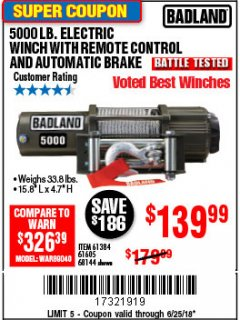 Harbor Freight Coupon 5000 LB. ELECTRIC WINCH WITH REMOTE CONTROL AND AUTOMATIC BRAKE Lot No. 61384/61605/68144 Expired: 6/25/18 - $139.99