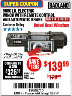 Harbor Freight Coupon 5000 LB. ELECTRIC WINCH WITH REMOTE CONTROL AND AUTOMATIC BRAKE Lot No. 61384/61605/68144 Expired: 7/23/18 - $139.99