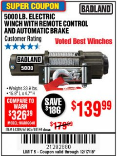 Harbor Freight Coupon 5000 LB. ELECTRIC WINCH WITH REMOTE CONTROL AND AUTOMATIC BRAKE Lot No. 61384/61605/68144 Expired: 12/17/18 - $139.99