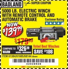 Harbor Freight Coupon 5000 LB. ELECTRIC WINCH WITH REMOTE CONTROL AND AUTOMATIC BRAKE Lot No. 61384/61605/68144 Expired: 7/3/19 - $139.99