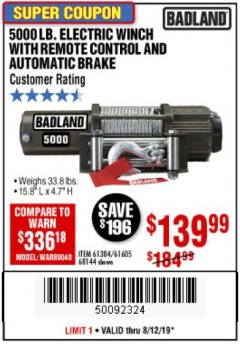 Harbor Freight Coupon 5000 LB. ELECTRIC WINCH WITH REMOTE CONTROL AND AUTOMATIC BRAKE Lot No. 61384/61605/68144 Expired: 8/12/19 - $139.99
