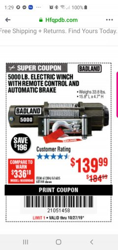 Harbor Freight Coupon 5000 LB. ELECTRIC WINCH WITH REMOTE CONTROL AND AUTOMATIC BRAKE Lot No. 61384/61605/68144 Expired: 10/27/19 - $139.99