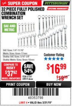 Harbor Freight Coupon 32 PIECE FULLY POLISHED SAE & METRIC COMBINATION WRENCH SET Lot No. 68854/61261 Expired: 3/31/19 - $16.99