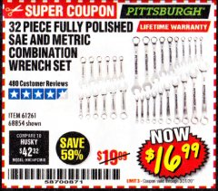 Harbor Freight Coupon 32 PIECE FULLY POLISHED SAE & METRIC COMBINATION WRENCH SET Lot No. 68854/61261 Expired: 3/31/20 - $16.99