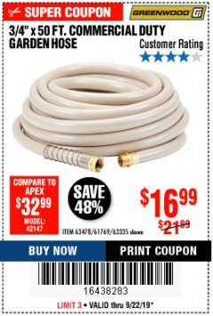 "Harbor Freight Coupon 3/4"" X 50 FT. COMMERCIAL DUTY GARDEN HOSE Lot No. 61769/63478/63335 Expired: 9/22/19 - $16.99"