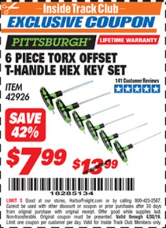 Harbor Freight ITC Coupon 6 PIECE TORX OFFSET T-HANDLE HEX KEY SET Lot No. 42926 Expired: 4/30/19 - $7.99