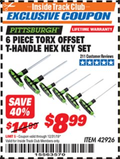 Harbor Freight ITC Coupon 6 PIECE TORX OFFSET T-HANDLE HEX KEY SET Lot No. 42926 Expired: 12/31/19 - $8.99