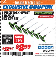 Harbor Freight ITC Coupon 6 PIECE TORX OFFSET T-HANDLE HEX KEY SET Lot No. 42926 Expired: 2/29/20 - $8.99