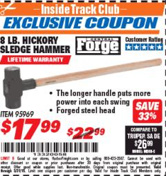 Harbor Freight ITC Coupon 8 LB. HICKORY SLEDGE HAMMER Lot No. 95969 Expired: 5/31/18 - $17.99