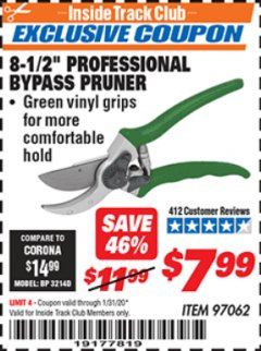 "Harbor Freight ITC Coupon 8-1/2"" PROFESSIONAL BYPASS PRUNER Lot No. 97062 Expired: 1/31/20 - $7.99"