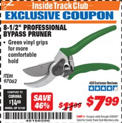 "Harbor Freight ITC Coupon 8-1/2"" PROFESSIONAL BYPASS PRUNER Lot No. 97062 Valid Thru: 4/30/20 - $7.99"