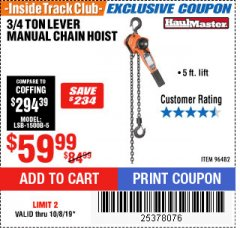 Harbor Freight ITC Coupon 3/4 TON LEVER CHAIN HOIST Lot No. 64557 Expired: 10/8/19 - $59.99