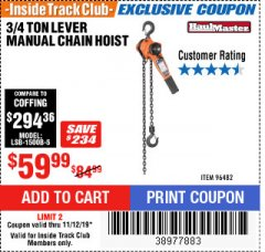 Harbor Freight ITC Coupon 3/4 TON LEVER CHAIN HOIST Lot No. 64557 Expired: 11/12/19 - $59.99