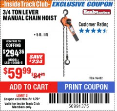 Harbor Freight ITC Coupon 3/4 TON LEVER CHAIN HOIST Lot No. 64557 Valid Thru: 4/1/20 - $59.99
