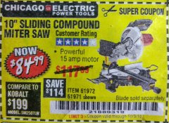 "Harbor Freight Coupon CHICAGO ELECTRIC 10"" SLIDING COMPOUND MITER SAW Lot No. 56708/61972/61971 Expired: 10/3/18 - $84.99"