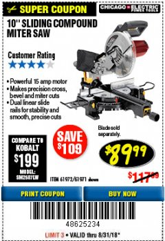 "Harbor Freight Coupon CHICAGO ELECTRIC 10"" SLIDING COMPOUND MITER SAW Lot No. 56708/61972/61971 Expired: 8/31/18 - $89.99"