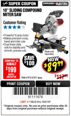 "Harbor Freight Coupon CHICAGO ELECTRIC 10"" SLIDING COMPOUND MITER SAW Lot No. 56708/61972/61971 Expired: 10/21/18 - $89.99"