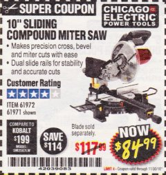 "Harbor Freight Coupon CHICAGO ELECTRIC 10"" SLIDING COMPOUND MITER SAW Lot No. 56708/61972/61971 Expired: 11/30/18 - $84.99"