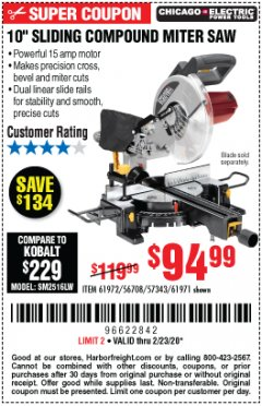 "Harbor Freight Coupon CHICAGO ELECTRIC 10"" SLIDING COMPOUND MITER SAW Lot No. 56708/61972/61971 Expired: 2/23/20 - $94.99"