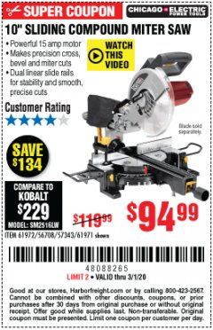 "Harbor Freight Coupon CHICAGO ELECTRIC 10"" SLIDING COMPOUND MITER SAW Lot No. 56708/61972/61971 Expired: 3/1/20 - $94.99"
