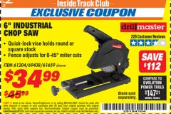 "Harbor Freight ITC Coupon 6"" 5.5 AMP CUT-OFF SAW Lot No. 41453/61204/61659/69438 Expired: 3/31/19 - $34.99"