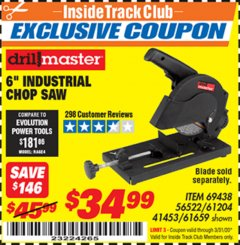 "Harbor Freight ITC Coupon 6"" 5.5 AMP CUT-OFF SAW Lot No. 41453/61204/61659/69438 Expired: 3/31/20 - $34.99"