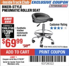 Harbor Freight ITC Coupon BIKER-STYLE PNEUMATIC ROLLER SEAT Lot No. 62357/94435 Expired: 2/18/20 - $69.99
