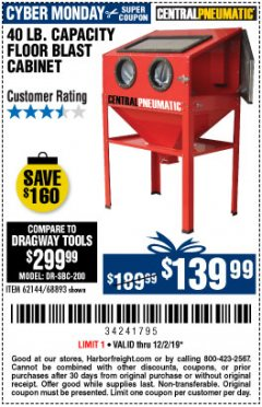 Harbor Freight Coupon 40 LB. CAPACITY FLOOR BLAST CABINET Lot No. 68893/62144/93608 Expired: 12/2/19 - $139.99