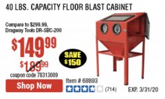 Harbor Freight Coupon 40 LB. CAPACITY FLOOR BLAST CABINET Lot No. 68893/62144/93608 Expired: 3/31/20 - $149.99
