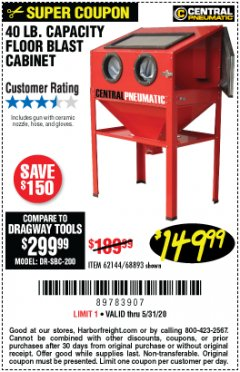 Harbor Freight Coupon 40 LB. CAPACITY FLOOR BLAST CABINET Lot No. 68893/62144/93608 Expired: 6/30/20 - $149.99