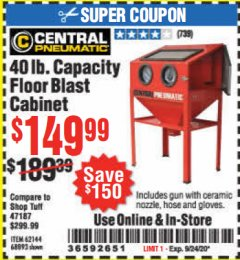 Harbor Freight Coupon 40 LB. CAPACITY FLOOR BLAST CABINET Lot No. 68893/62144/93608 Expired: 9/24/20 - $149.9